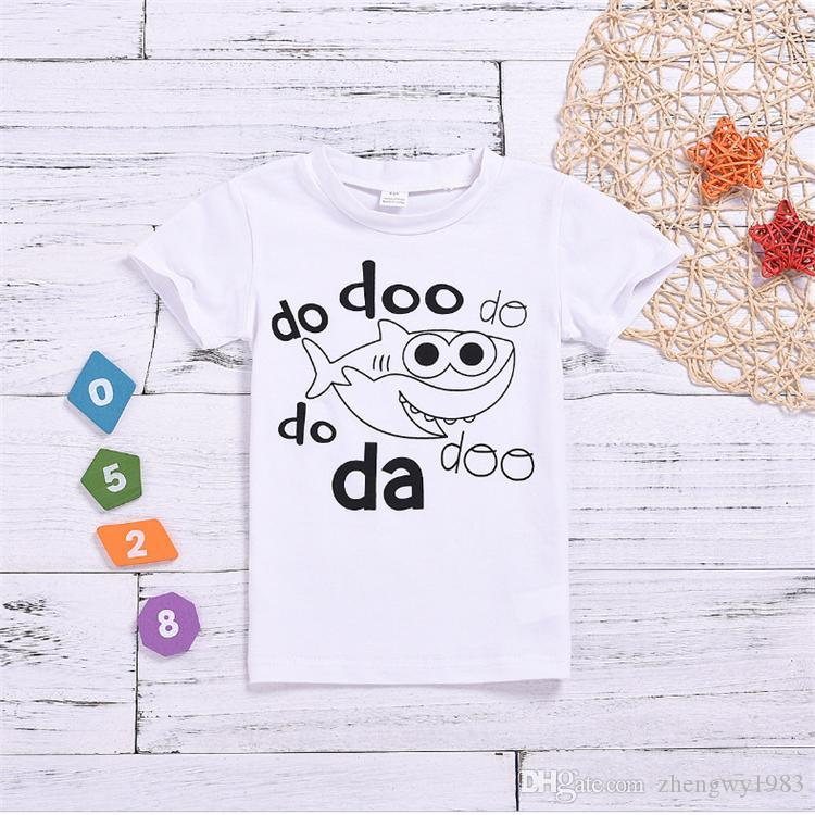 New summer kids clothes 1-6Y boys girls Short-sleeved printed cartoon shark T-shirt White t-shirt kids designer clothes JY585