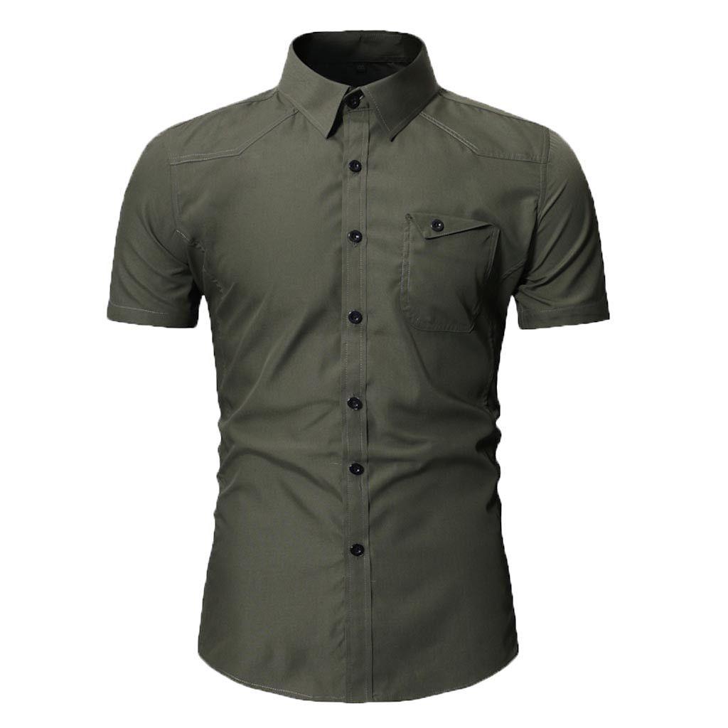 Manga curta Camisa de Vestido Dos Homens Camisas Formais Casuais Estilo Slim Fit Verão Tops Asiático Tamanho Camisas Hombre Manga Corta 2 #