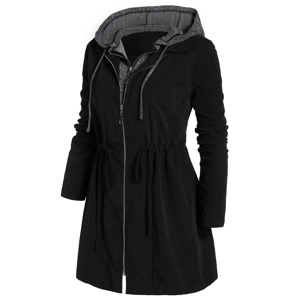 2020 Women Solid Rain Jacket Outdoor Hooded Waterproof ...
