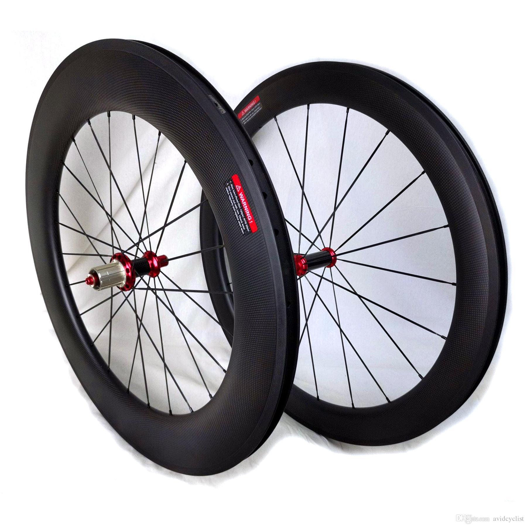 A fibra de carbono rodas de bicicleta 60 milímetros frontal traseira 90 milímetros gancho bicicleta de estrada tubular rodado superfície travão basalto Powerway R36 cubos 3K mate