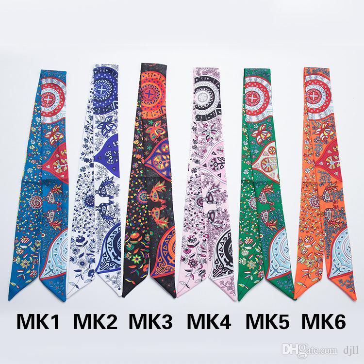 Narrow Long Scarf Hand Bag Scarves Women kerchief Riband Neckerchief Bohemia Flower Printing Polyester Handle Bag Ribbon Scarves & Wraps