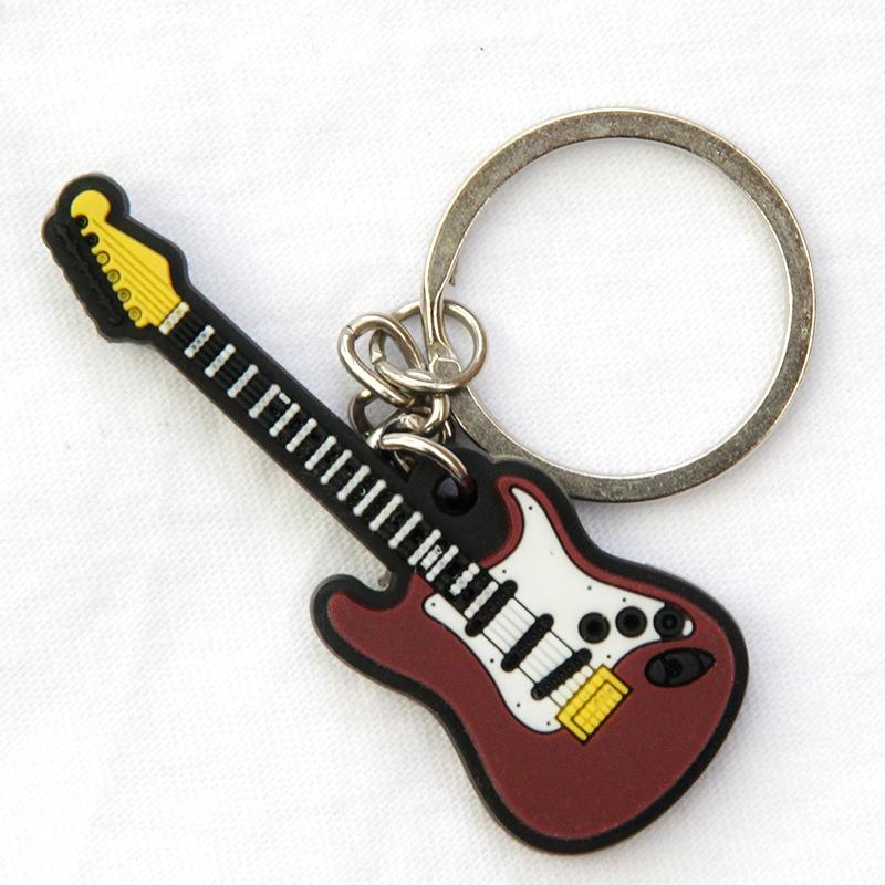 FREE SHIPPING BY DHL 100pcs/lot Newest Rubber Silicone Electric Guitar Keychains Music Keyrings Guitar Pendant for Gifts