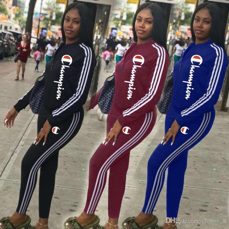 Женская куртки спортивного костюма толстовки 2 шт набора бега спортивного костюма толстовка колготки спортивного костюм случайные женщины кардиган брючного klw2041
