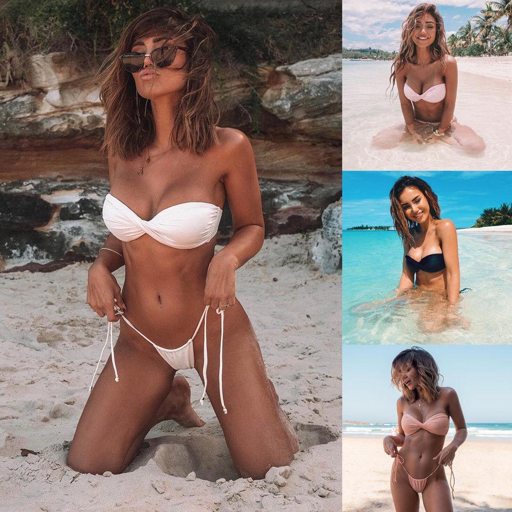 Bikini Set Bandage Push-Up rembourré Maillots de bain été chaud maillot de bain pop bain brésilien Beachwear Russie Glâne Femmes