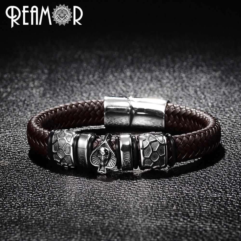 REAMOR панк стиль Браслет из нержавеющей стали 316L лопаты череп голова прелести модный мужской браслет черный широкий плетеный кожаные браслеты