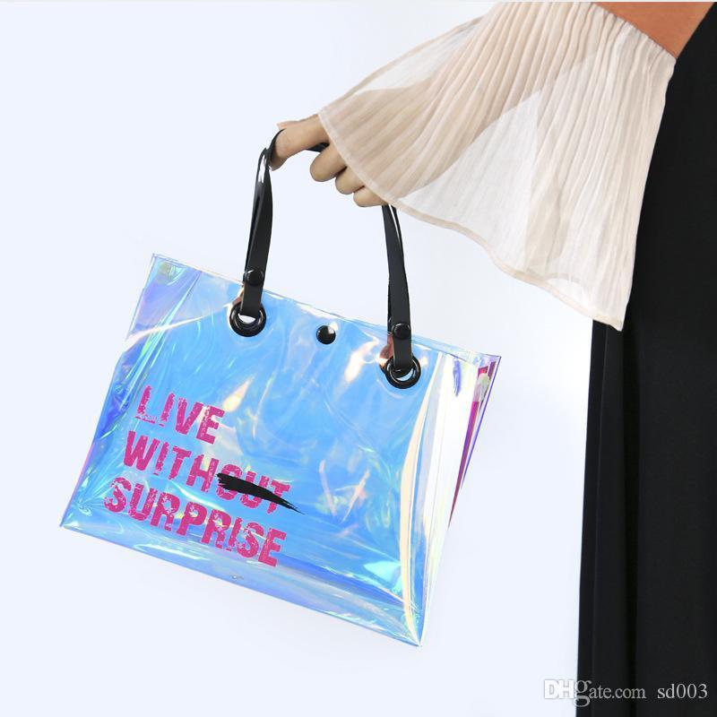 Láser transparente Bolso de Botón Inclinado Impermeable Inclinado Bolsa de Hombro Eco Amistoso Moda Bolsas de Almacenamiento de Mujeres 21 16hwE1