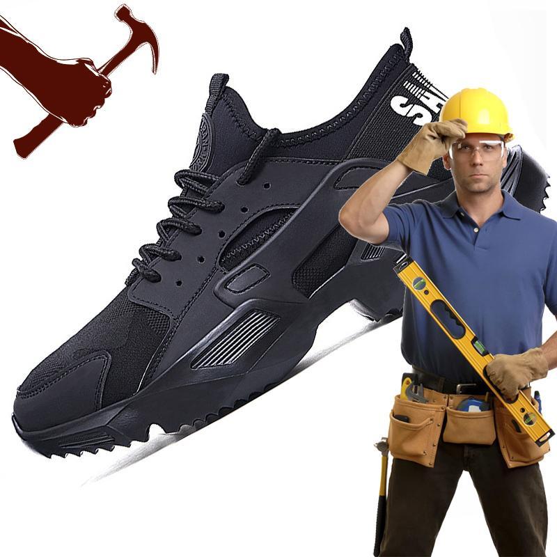 Zapatos de seguridad de moda para hombre Zapatos de trabajo Resistencia Botas de trabajo con punta de acero Calzado ligero indestructable de seguridad F25