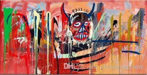 vA. Jean Michel Basquiat Satana di alta qualità astratta dipinta a mano Graffiti Art Oil Painting Stati Uniti bandiera sulla parete su tela Hppme Dec55