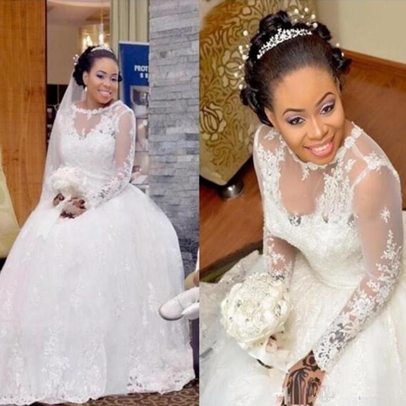 Плюс Размер Свадебные платья с кружевными аппликациями African Sheer Длинные свадебные платья рукава Sweep Поезд Sexy Свадебные платья Vestidos De NOVIA