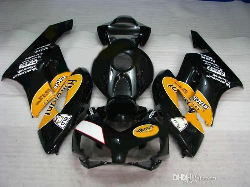 Hat sale Fairings for Honda CBR1000RR 2004 2005 black yellow Injection mold fairing kit CBR 1000 RR 04 05 VS23