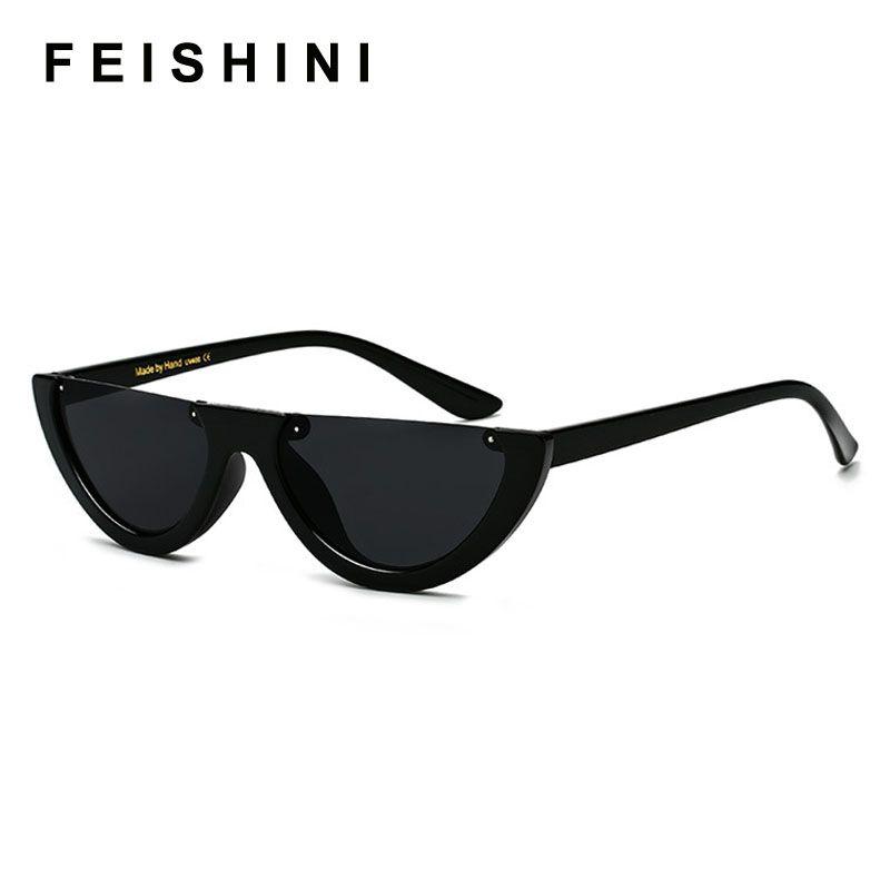 FEISHINI Único Metade Quadro Óculos Mulheres Cat Eye Sunglasses Marca Designer de Moda de Alta Qualidade Das Senhoras de Óculos De Sol Celebridade