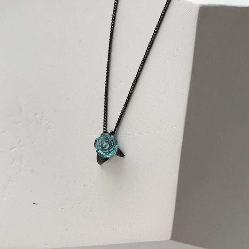 Sweet 925 Sterling Silver Blue Rose Flower Necklace Women Black Clavicle Chain choker Necklace collar