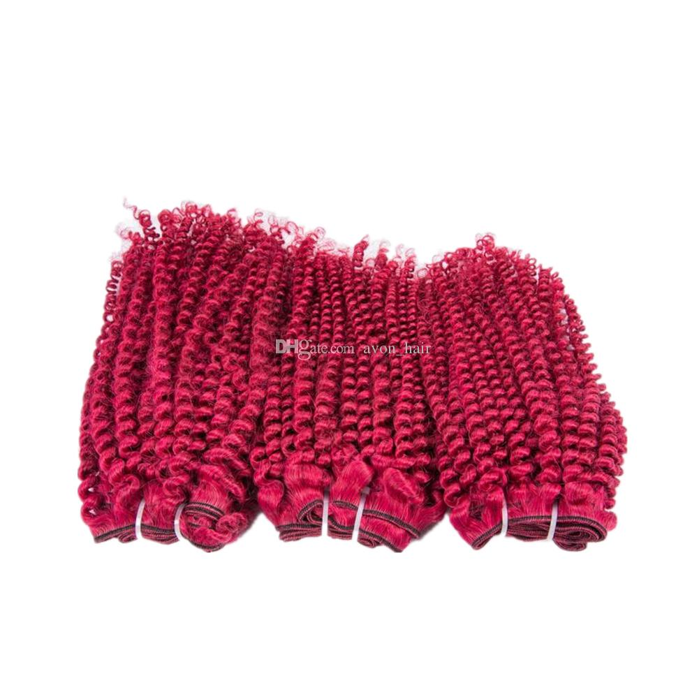 Burgundy Pure Colored Afro Curly 100% Human Hair Wefts 3Bundles Double Wefted Burgundy Color Virgin Human Hair Weves Extensions 300g