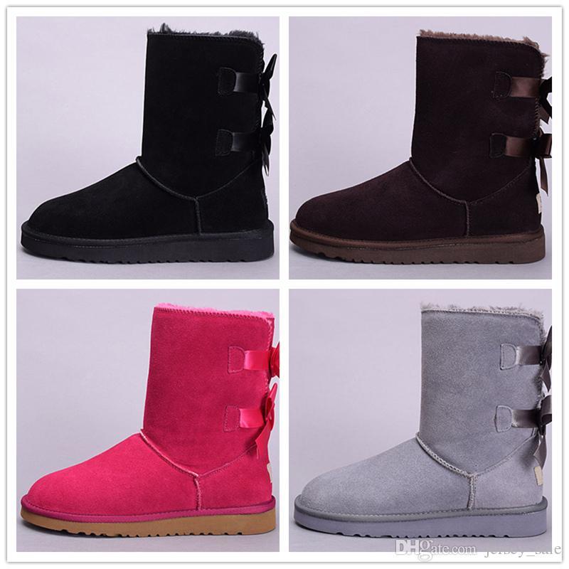 Caliente Nuevo invierno Australia Botas de nieve clásicas buena moda WGG botas altas de cuero real Bailey Bowknot bailey arco de las mujeres Botas de rodilla zapatos para hombre