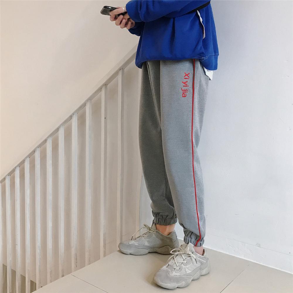 Bahar 2019 Yeni Sweatpants Moda Streetwear Pantolon Erkekler Gevşek Artı Boyutu Nakış Pantolon Erkekler Yan Çizgili Rahat Harem Pantolon