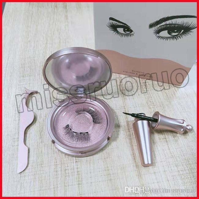 Yeni sıcak Manyetik Likit Eyeliner Manyetik Yanlış Eyelashes Cımbız Seti Mıknatıs Yanlış Eyelashes Seti Tutkal 3 set damla nakliye Araçları Makyaj