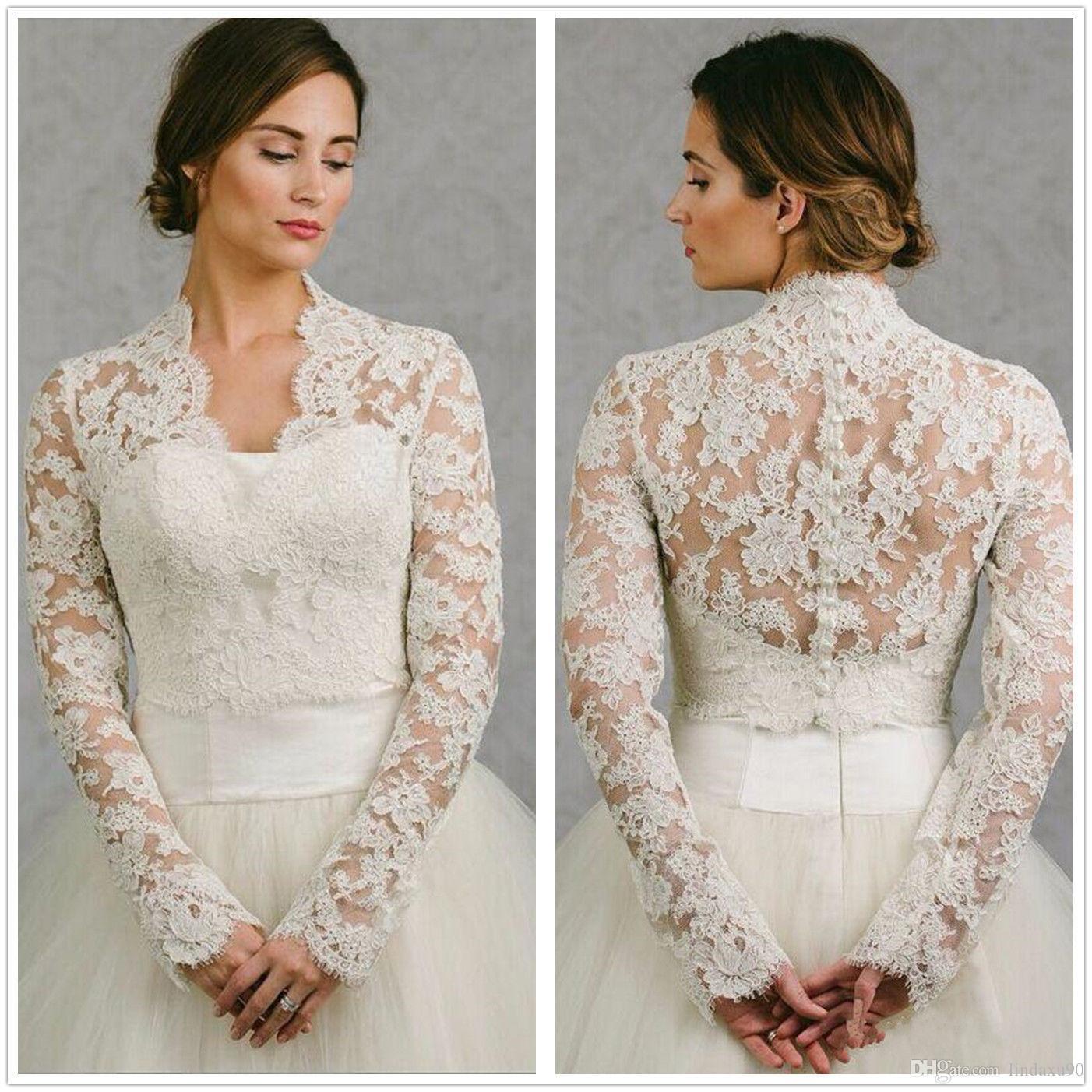 Long Sleeve Wedding Wrap Lace Jacket White Ivory Appliqued Cheap Bridal Wrap Bolero Shrug Custom Made