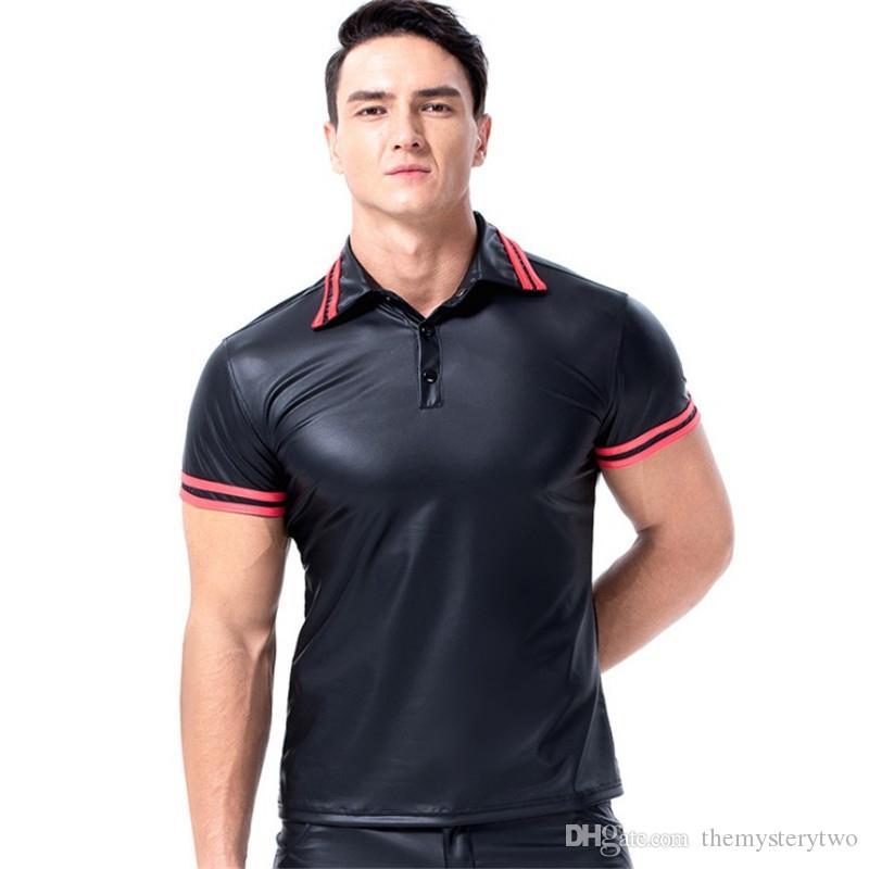 Artı Boyutu Lingerie Erkekler Siyah Lateks PU Polo En Tank Gömlek Erkekler Bodysuit Egzotik Tankları Sahne Kulübü Aşınma Erkekler