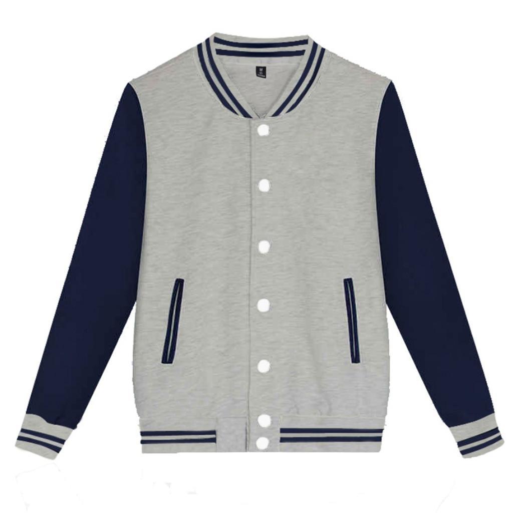 Otoño nueva de la manera hombres de la moda Color sólido soporte informal suéter de cuello Tamaño chaquetas del béisbol de Casual fina de alta calidad 9.2