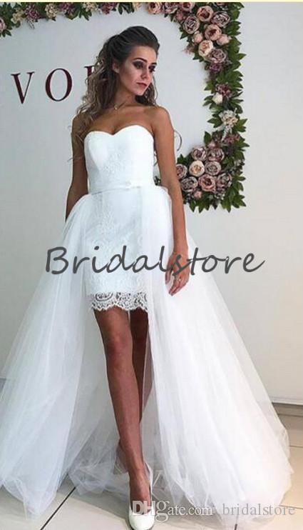 Fashion Hi low wedding dresses with detachable Skirts sexy white sweetheart tulle Cheap Country Bridal gowns 2019 Short Beach Wedding Dress