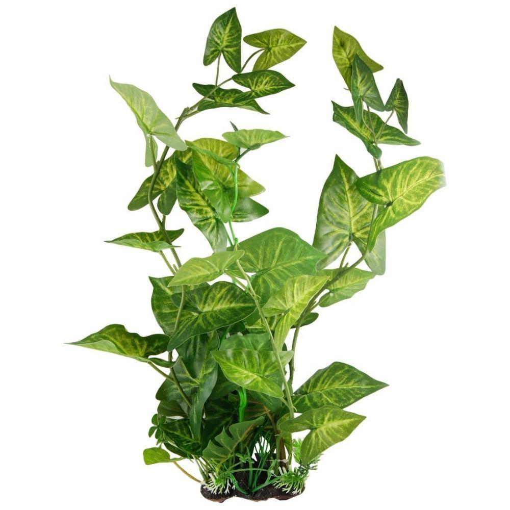 """21.5"""" High Aquarium Green Plastic Artificial Plants Decorations Fish Tank Fake Leaves Decor Aquatic Plant Ornaments Accessories"""