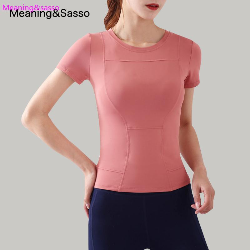 2020 Новый спортивный с коротким рукавом Женщины Tight Dry дышащий Йога центр одежды Бег Тонкий Lycra Йога рубашка