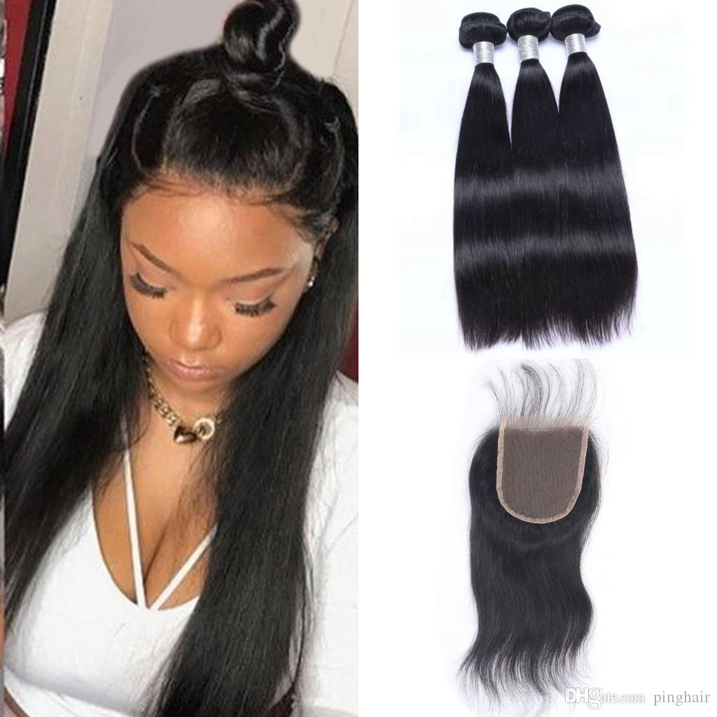 Malaysian Human Hair Straight Bundles with Closure 4 Pieces Lot Hair Weave Bundles With Lace Closure 4x4 Extensions