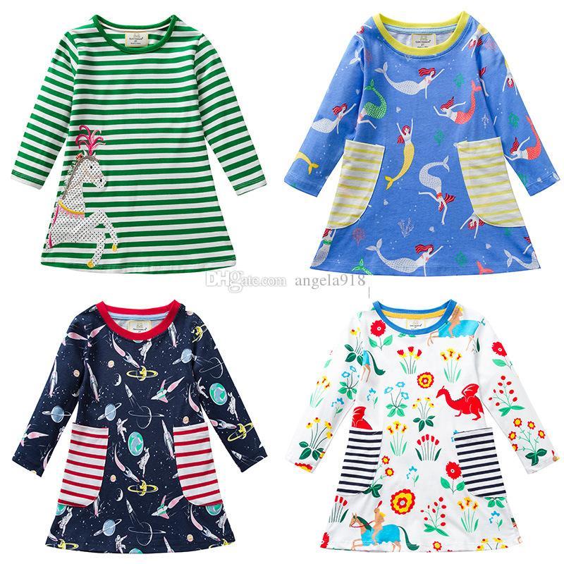 Style vestimentaire européenne Princesse sirène Licorne Imprimer Bébé mode robe à manches longues Printemps Automne 6 pcs / set LA217