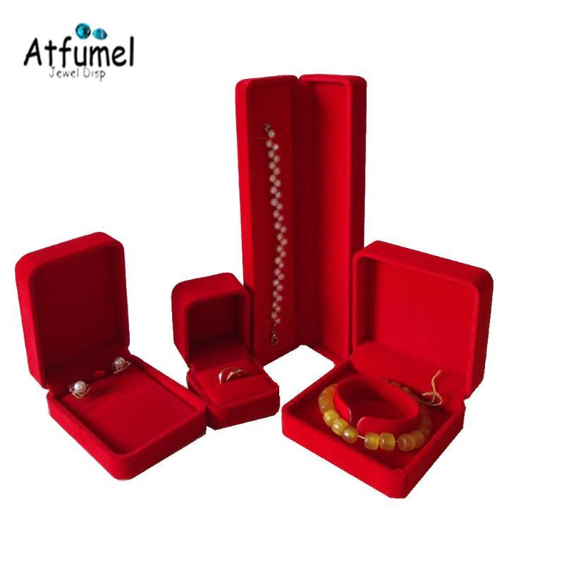Velvet Anel de jóias caixa Brinco Pulseira Pingente Organizer Box diamante anel de casamento Jóias de armazenamento presente 4pcs