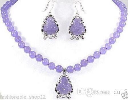 "Prett Lovely Women's Wedding 1set Amazing!10mm Purple Alexandrite Round Necklace Earring 18"" AA1234 5.23"