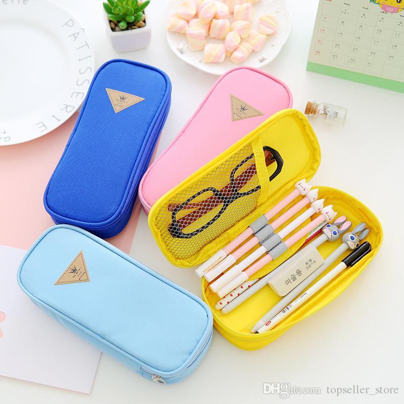 Творческий большой емкости холст ручка сумка многофункциональный канцелярские сумка для хранения флип ручка пенал канцелярские коробки детские подарки
