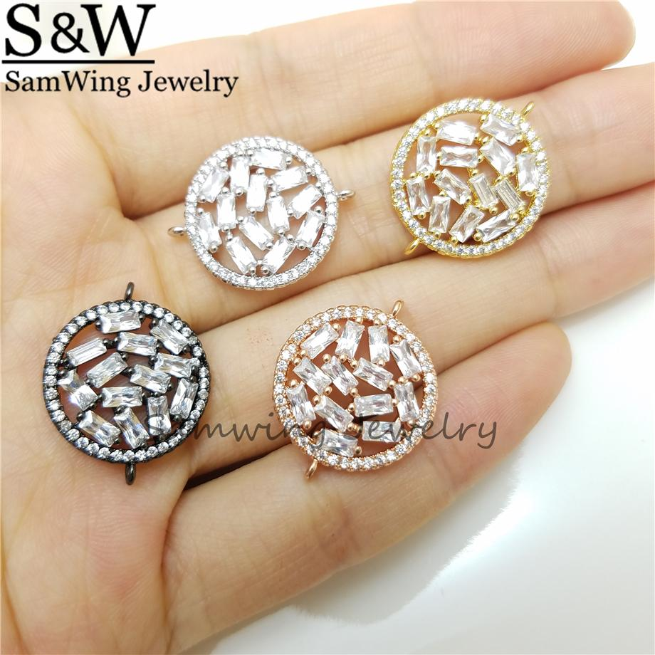 10pcs Wholesale Shinning CZ crystal fashion round charm CZ inlaid conector fashion round accessories