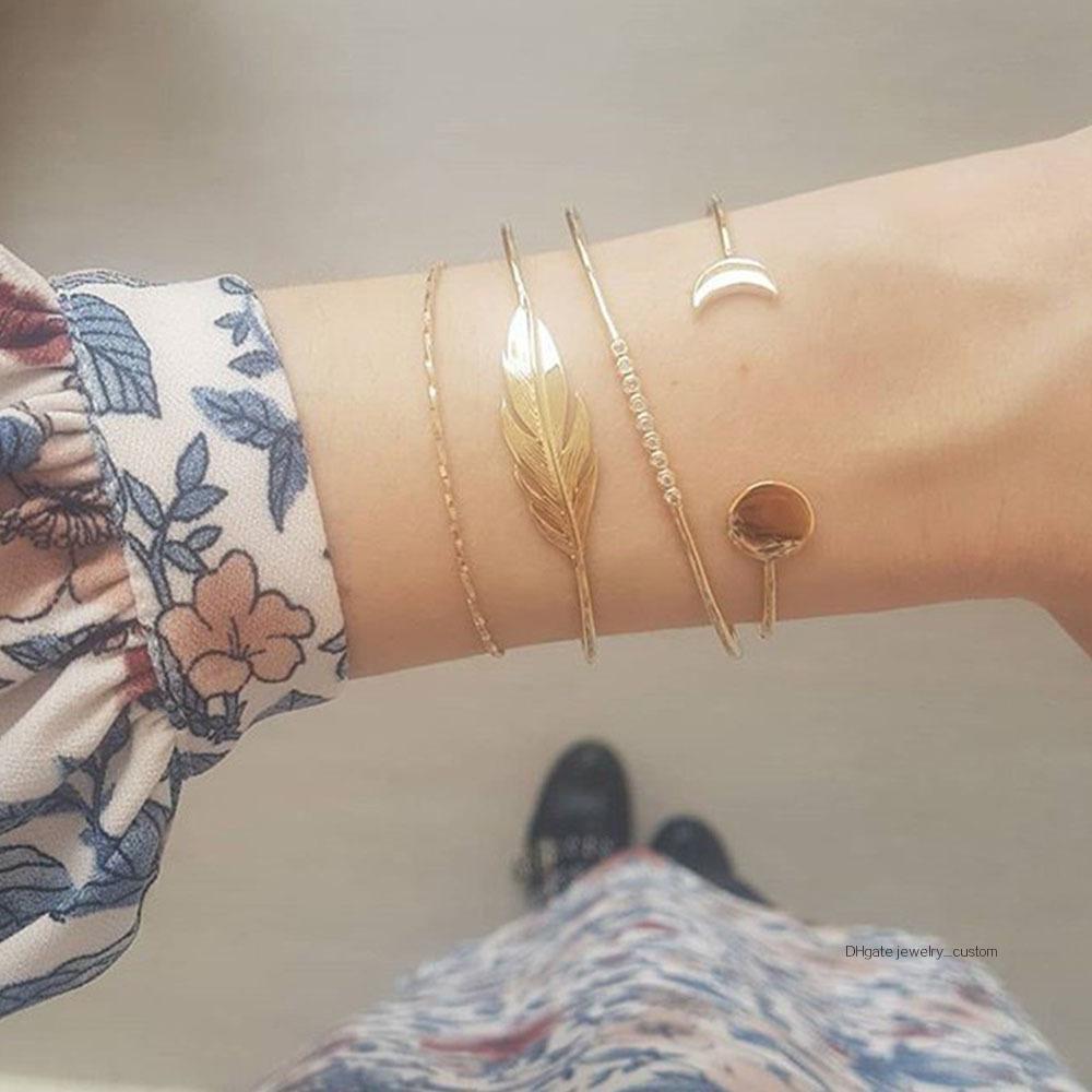 4 Teile / satz Frauen Vintage Blätter Kristall Geometrie Mond Gold Armband Set Böhmischen Charme Schmuck Zubehör