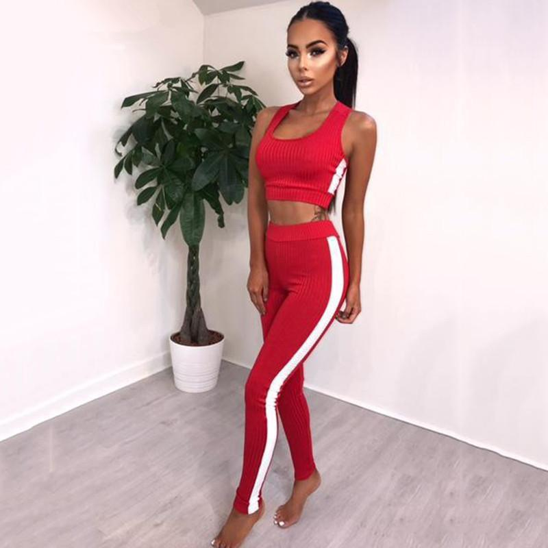 Striped Tracksuit Women 2 Pieces Set Outtwear Sweatsuit Casual Tracksuit Sleeveless Tank Top +Pants Women 'S Sets 4 Colors Funny