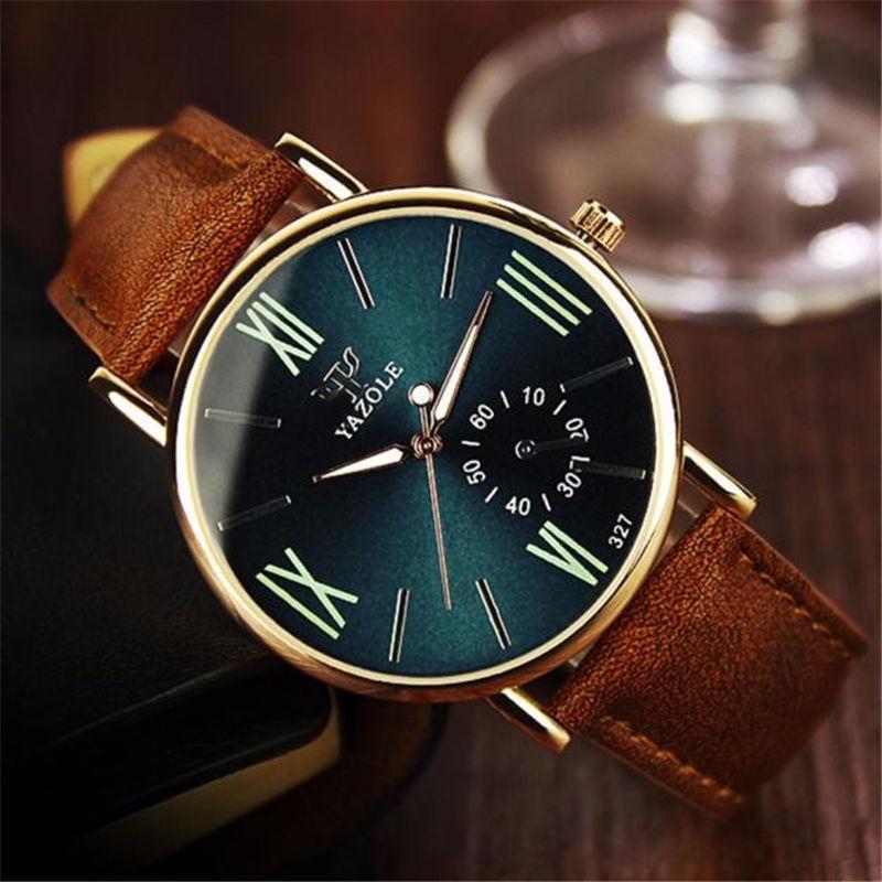 1Dropship Quarz-Armbanduhr-Uhren Männer Luxuxmarken-Leder-Mann-Uhren Blue Ray Glas Quarz-analoge Uhr Kühle