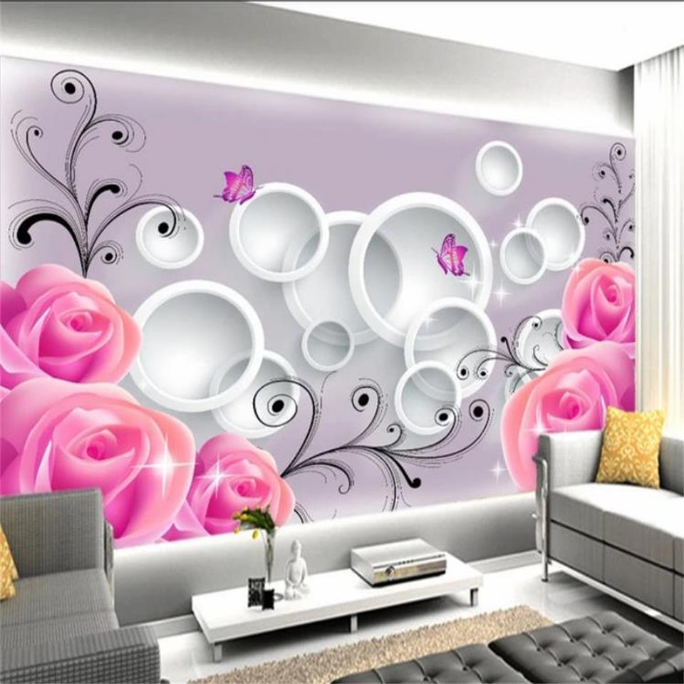 custom size 3d photo wallpaper living room bed room kids room mural pink rose flowers circle picture sofa TV backdrop wallpaper wall sticker