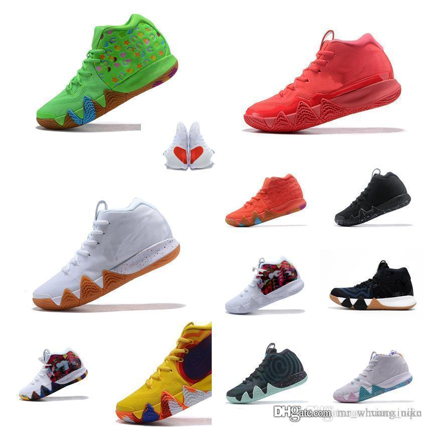 Mens kyries basketball shoes Lucky Charms Green Halloween Team Red Blue Yellow Wheat Black White new kyrie irving IV sneakers sport with box