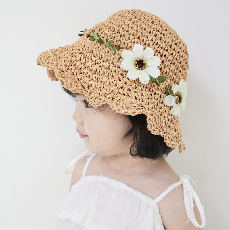 Sweet  Kids Children Boys Girls Toddler Fish Bone Sun Cap Straw Hat UK SELLER
