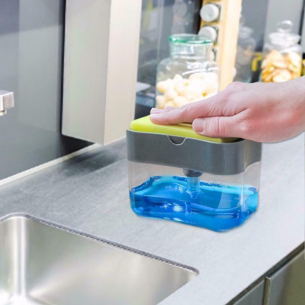 2-in-1Sponge Rack Soap Dispenser Soap Dispenser And Sponge Caddy 13 Ounces Clean
