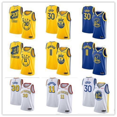 Hommes Édition d'ornbaEtatGuerriers Stephen 30 Basketball Curry Klay Thompson 11 blanc d'or Maillots