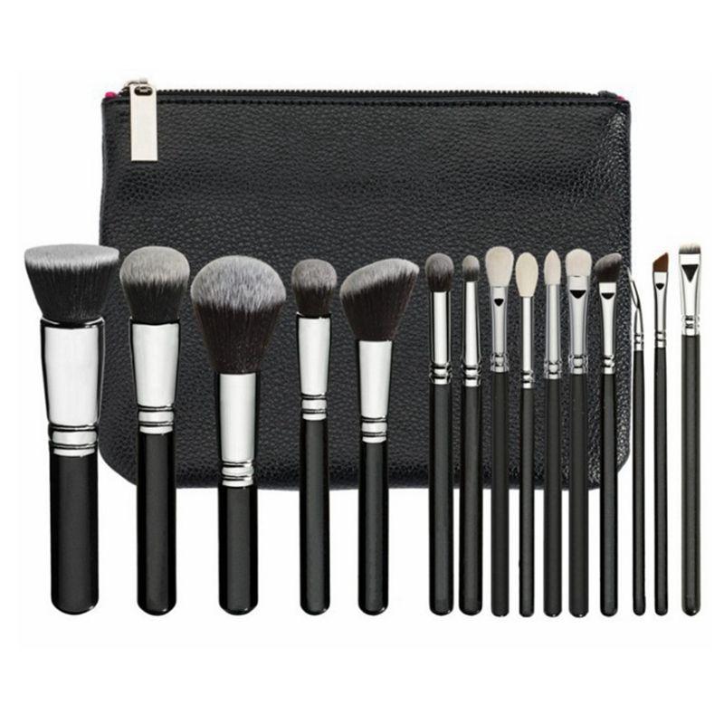 15pcs / Set Make-up Pinsel Set mit PU-Beutel Profi Pinsel Set für Powder Foundation Blush Lidschatten-Kosmetik-Bürsten HHA-281