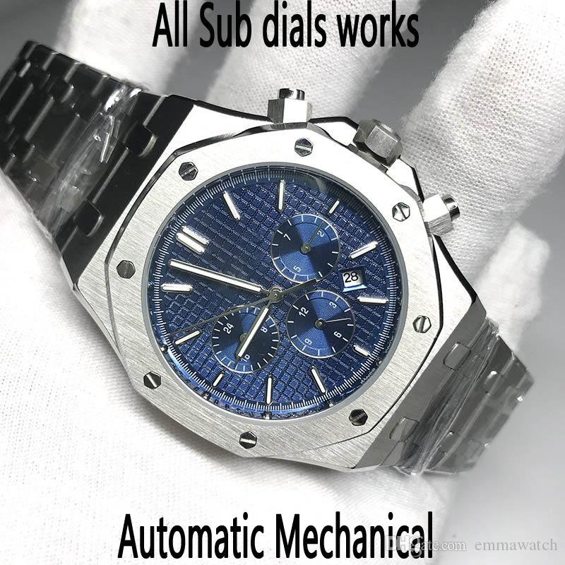 Erkekler İzle Otomatik hareketi ikinci el safir cam KRALİYET MEŞE serisi 15400 tüm alt kadranları pürüzsüz Glide 7 renk kol saatleri işleri