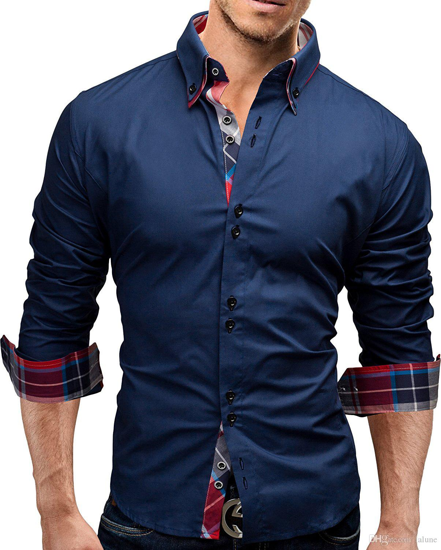 Brand Fashion Male Shirt Long-Sleeves Tops Double collar business shirt Mens Dress Shirts Slim Men 3XL