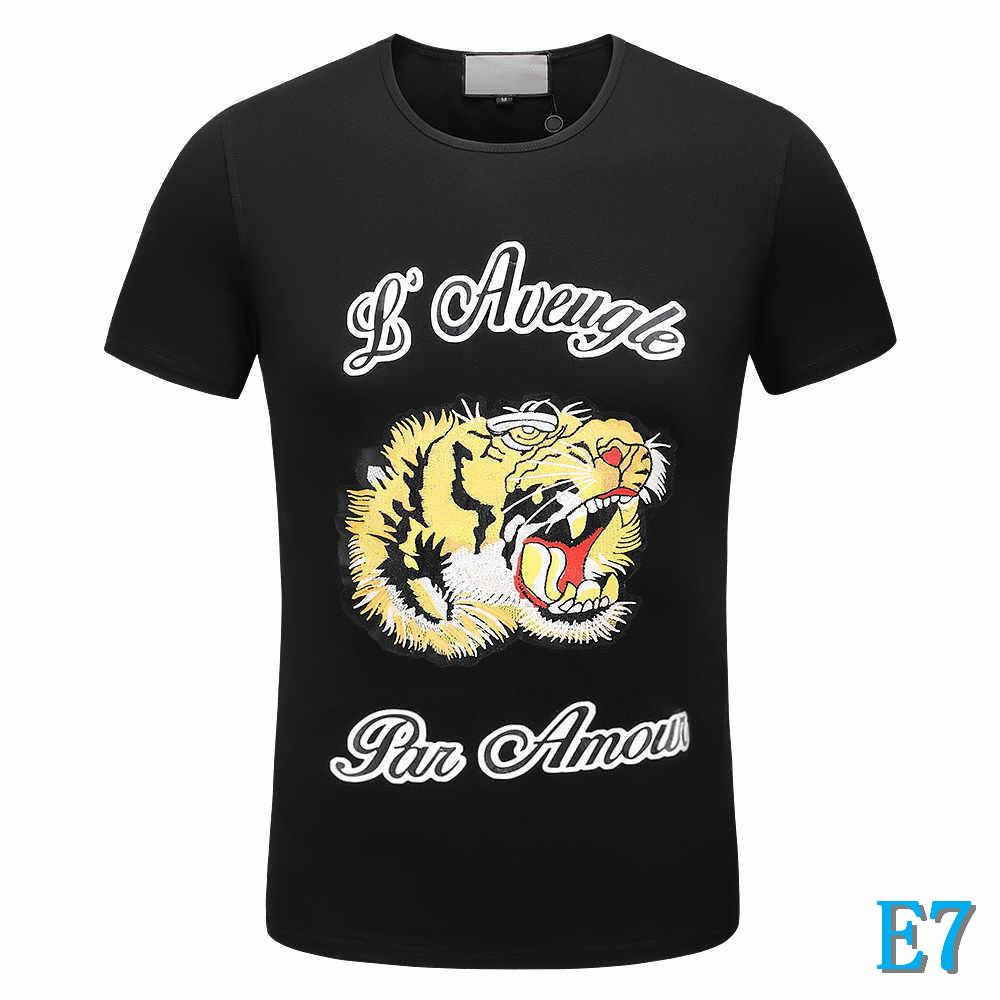 Man Designer T-Shirt Brand Tiger Head T Shirts Breathable Short Sleeve Luxury Fashion Tee for Men Tops Wholesale 2 Color High QualityE7