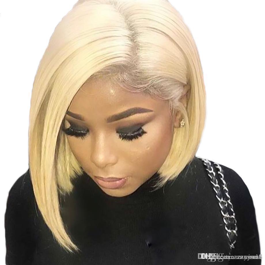16 polegadas de alta qualidade barato Ombre perucas curtas Bob Curly ondulado rendas frente Wigs resistente ao calor Lace Synthetic Frente perucas para mulheres negras