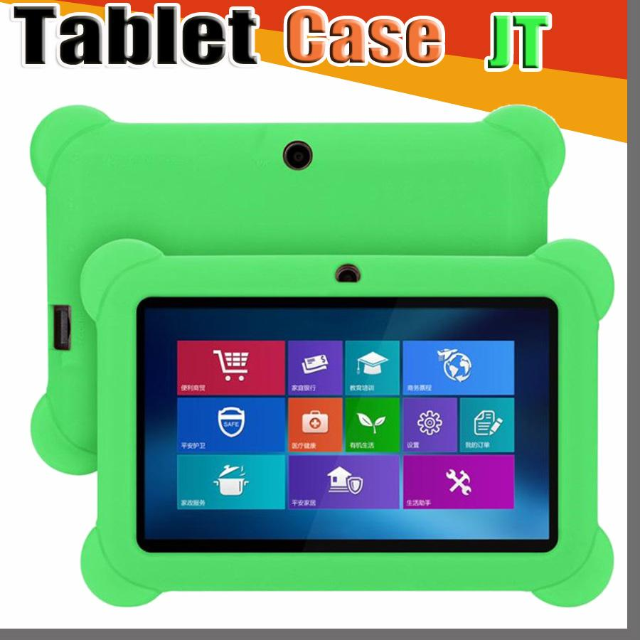"""JT Anti Dust Kids Child Soft Silicone Rubber Gel Case Cover For 7"""" 7 Inch Q88 Q8 A33 A23 Android Tablet pc MID Free shipping"""