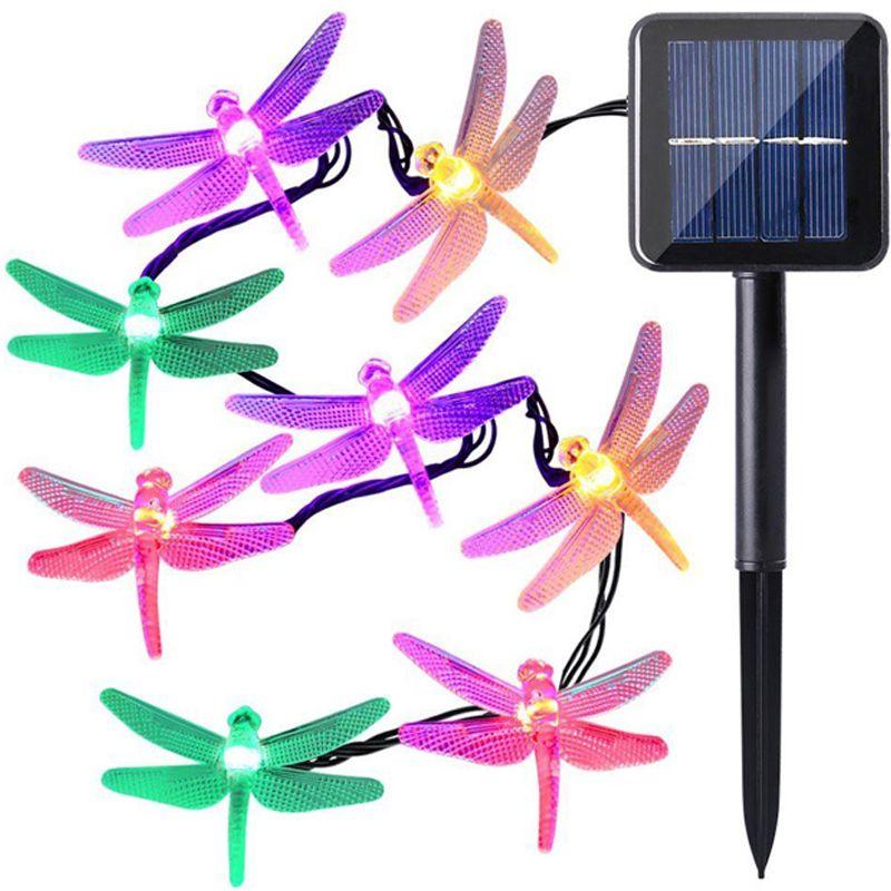 Solar Powered Luzes Cordas LED 30 Lâmpadas À Prova D 'Água Da Libélula De Natal Cordas De Acampamento Ao Ar Livre Iluminação Do Jardim Do Feriado Do Partido 8 Modos 6.5 m