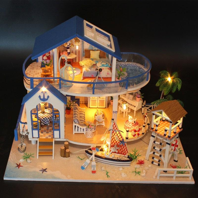 diy doll house large miniatures dollhouse poppenhuizen en miniaturen doll houses furniture 1:12 wooden house doll toy Christmas