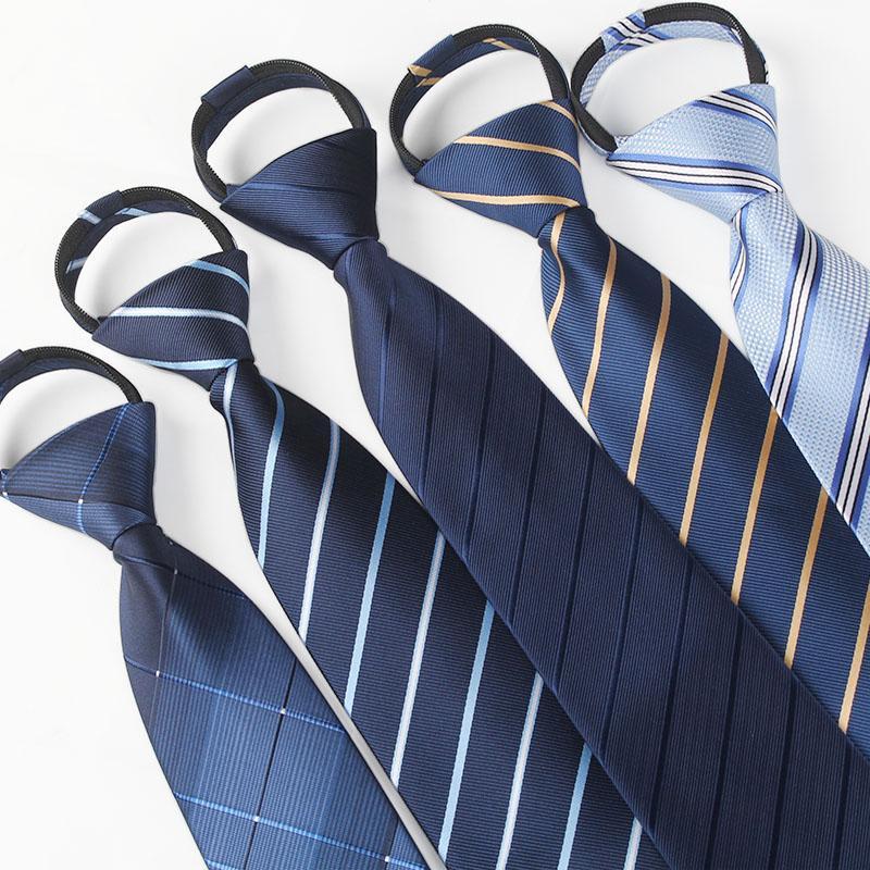 Hommes 8cm liens glissière de cravates de pré-attaché d'affaires de la mode casual série noir cravates pour les hommes cravate à rayures cravate de couleur unie