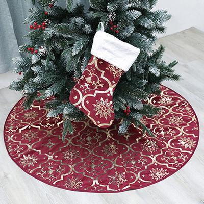 Noel ağacı etek fırfır Noel ağacı etek Çuval bezi malzeme pamuk Noel işlemeli 54 inç süsleme EEA460N besler